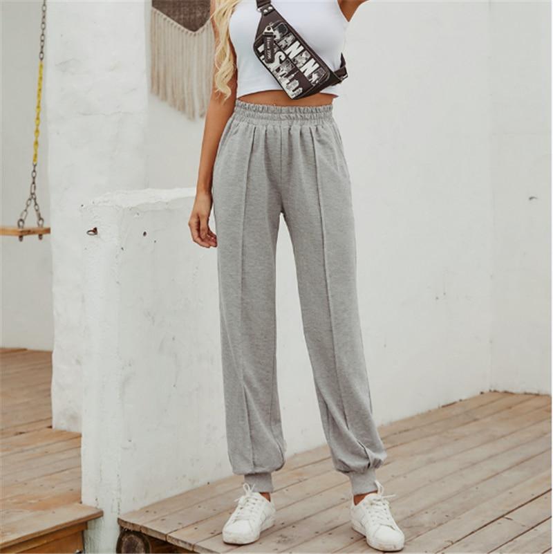 2020 Autumn Winter Sports Casual Sweatpants Women High Elastic Waist Trousers Streetwear Korean Ladies Girls Solid Trousers