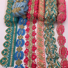 10yards Metallic Embroidered Motif Glitter power and rhinestone Nigeria Venice Lace Trim Crochet Cord