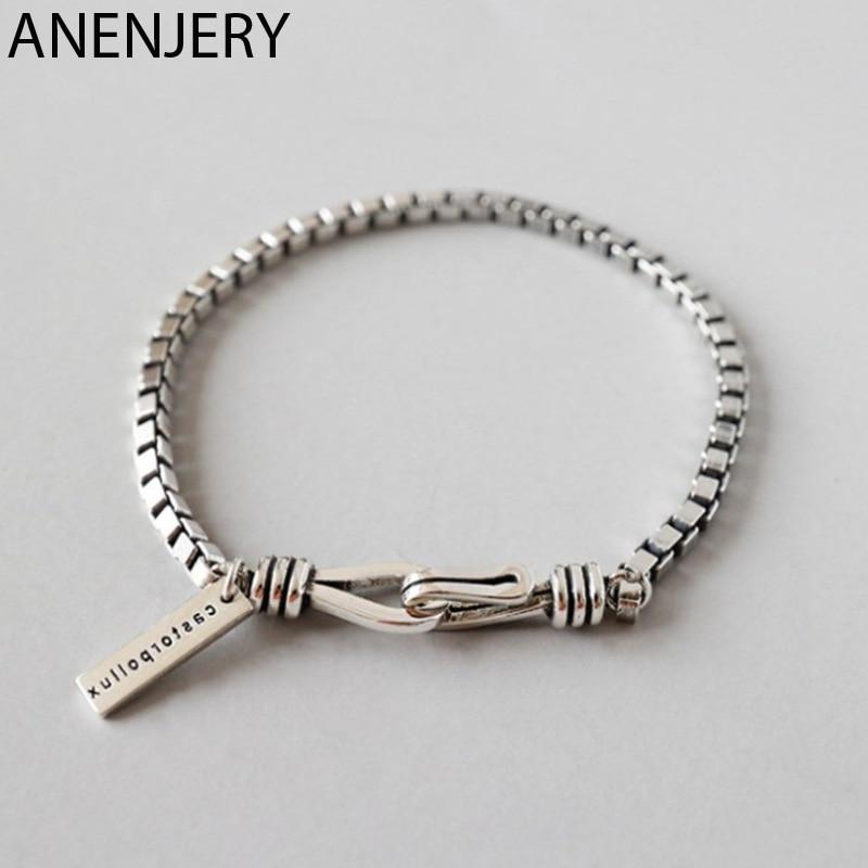 ANENJERY Double Hook Box Chain Bracelet Thai Silver Color Punk Style Letter Couple Bracelet For Women Men S-B319