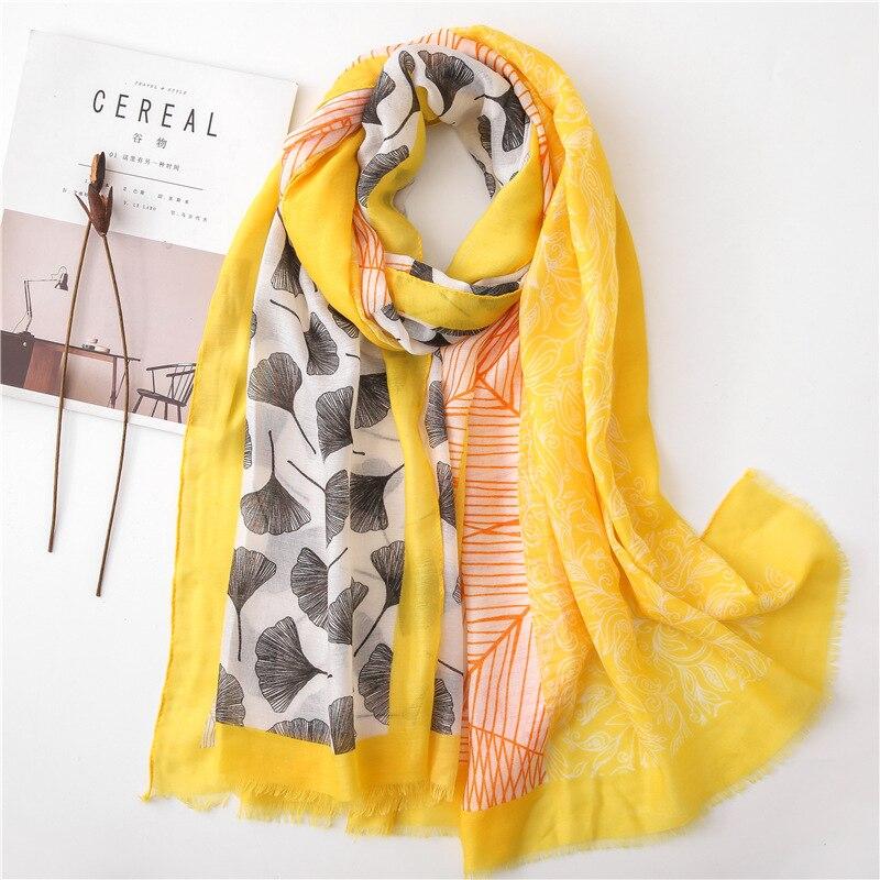Oloey Summer Ginkgo Biloba Leaves Print Scarf Female Yellow Floral Soft Patchwork Beach Shawls Women Luxury Striped Hajab Scarf