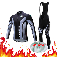 Winter Men Cycling Clothing Suit Thermal Fleece Jersey Set Bike Clothes Dress Kit Bicycle Triathlon Uniform Maillot Skinsuit Bib