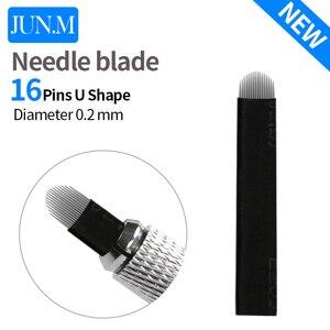 Image 2 - 500 pces 16 pinos agulha u forma sobrancelha tatuagem superior microblading lâminas para maquiagem permanente manual caneta 3d sobrancelha bordado