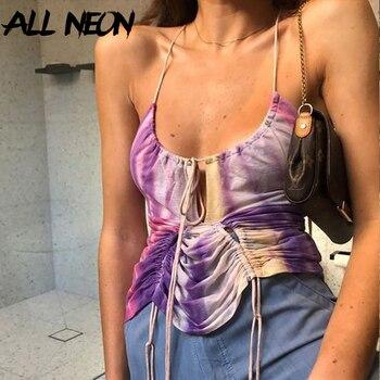 ALLNeon Y2K E-girl Tie Dye Halter Bandage Ruched Crop Tops Sweet Chic Backless Deep V-neck Purple Cami Top Streetwear Party Tank tie front cross wrap cami top