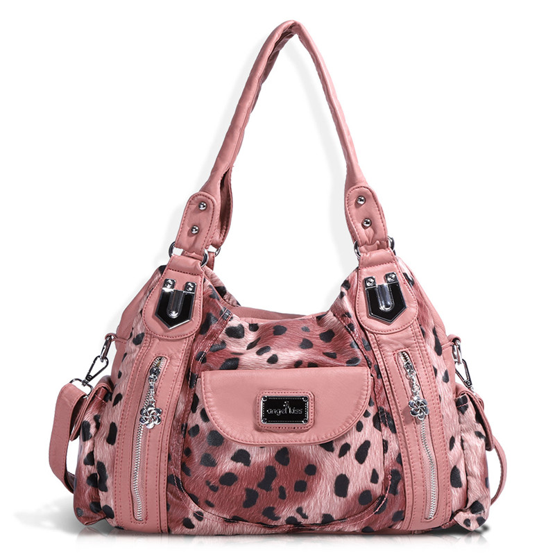 Angel Barcelo Women Handbags Large Capacity Multi Pockets Casual Sling Bags Totes with Flower Leopard Printing Shoulder bags