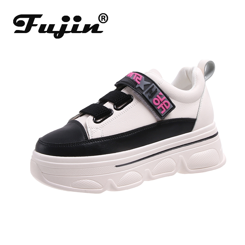 Fujin Walking Gilrs Shoes 2019 New Stylish Woman Sneakers Dropshipping INS High Heel Sneakers Women Height Platform Breathable