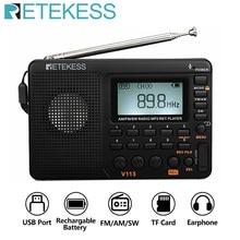 RETEKESS V115 радио AM FM SW карманное радио коротковолновый fm-динамик Поддержка TF карта USB REC рекордер время сна