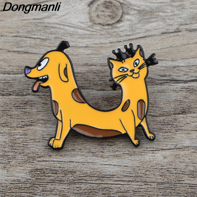 K364 Cat and Dog Pin Funny Metal Brooches Pins Enamel for Women Men Lapel Backpack Badge Brooch Collar Jewelry
