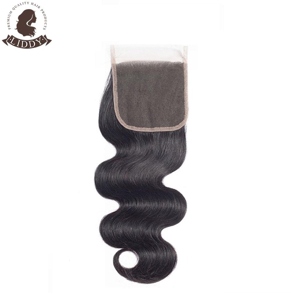 Liddy Body Wave 4x4 Lace Closure 100% Human Hair Closure Malaysian Hair Weaving Natural Color Non-remy Hair Frontal Closure