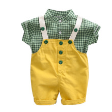 цена на Summer Two-piece Baby Sling Pants Suit Infant Shirt Short Sleeve Summer Fashion Trend Children Clothing Boy Baby Two-piece Suit