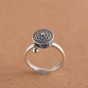 Image 3 - Женское серебряное кольцо GAGAFEEL, Открытое кольцо в стиле ретро из тайского стерлингового серебра 925 пробы с шестисловом и мантрой, ювелирные украшения для молитвенного колеса
