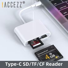 цена на !ACCEZZ SD/TF/CF Card Reader For Laptop Tablet PC Phone Multifunction Type c to Micro SD TF CF Smart Memory Card OTG Cardreader