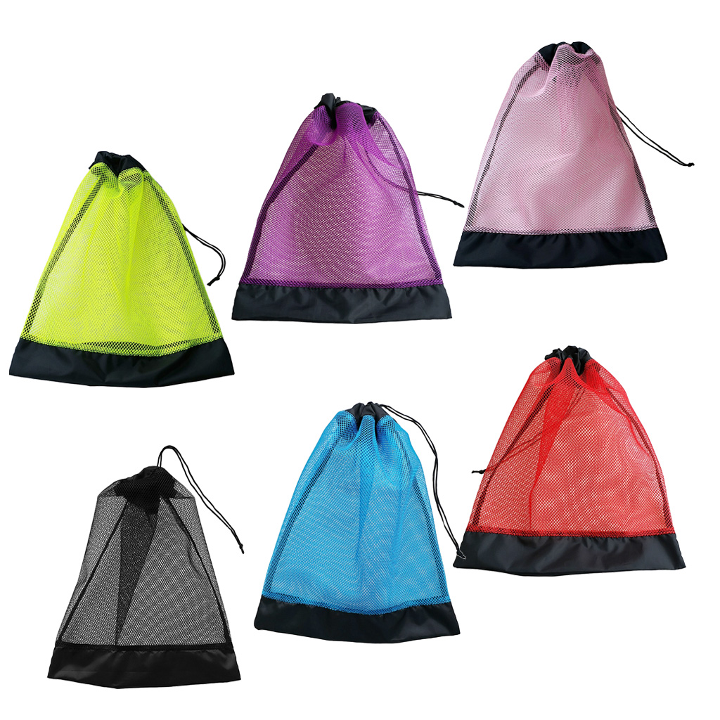 Heavy Duty Compact Mesh Drawstring Storage Bag For Scuba Diving Snorkeling Swimming Mask Fins Goggles Gear Equipment
