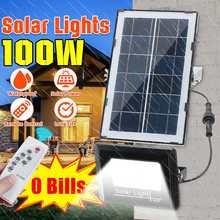 100w 27 conduziu a luz solar ao ar livre lâmpada solar powered projector holofote à prova dwaterproof água pir sensor de movimento luz de rua para jardim