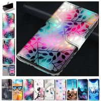 Fashion Flip Leather Phone Wallet For Huawei P10 Lite P9 Lite 2016 P8 Lite 2017 Beast Flip Phone Case Floral Stand Cover D08F
