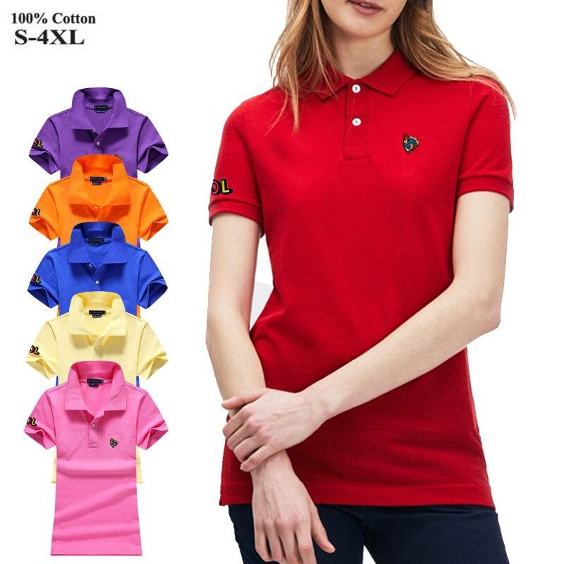 Fashion 2020 New Womens polos shirts 100% Cotton High quality casual short  sleeve Ladies polos shirt womens slim tops S 4XL|Polo Shirts| - AliExpress