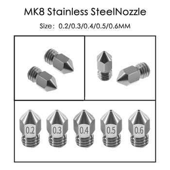3D Printer Threaded Stainless Steel MK8 Nozzle M6 0.2 0.3 0.4 0.5 0.6mm for 1.75mm Filament CR10 CR-10S Ender 3 5 - discount item  10% OFF Office Electronics