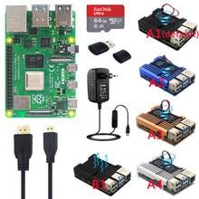 Oryginalne oficjalne zestawy Raspberry Pi 4 Model B podwójny wentylator aluminiowa obudowa + karta SD 32/64 GB + zasilacz + radiatory do RPI 4