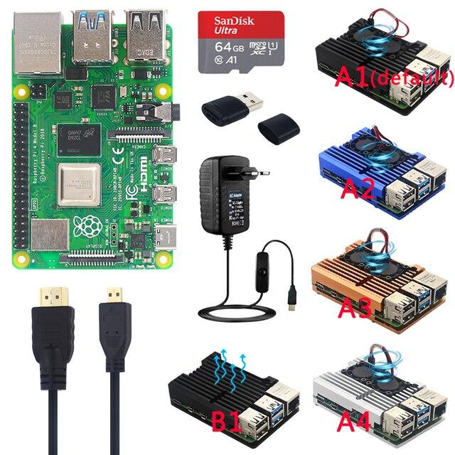 מקורי רשמי פטל Pi 4 דגם B ערכות הכפול מאוורר אלומיניום מקרה + 32/64 GB SD כרטיס + מתאם מתח + HDMI כבל עבור RPI 4