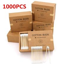 1000 Bamboo Cotton Swabs Wooden Cotton Buds, Organic Eco Friendly Cotton Swabs Wood Sticks for Ear Cleaning, Beauty Makeup Tools