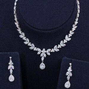 Image 5 - Pera klasik markiz beyaz CZ gelin takı setleri kadınlar için uzun damla küpe ve kolye kostüm aksesuarları J296