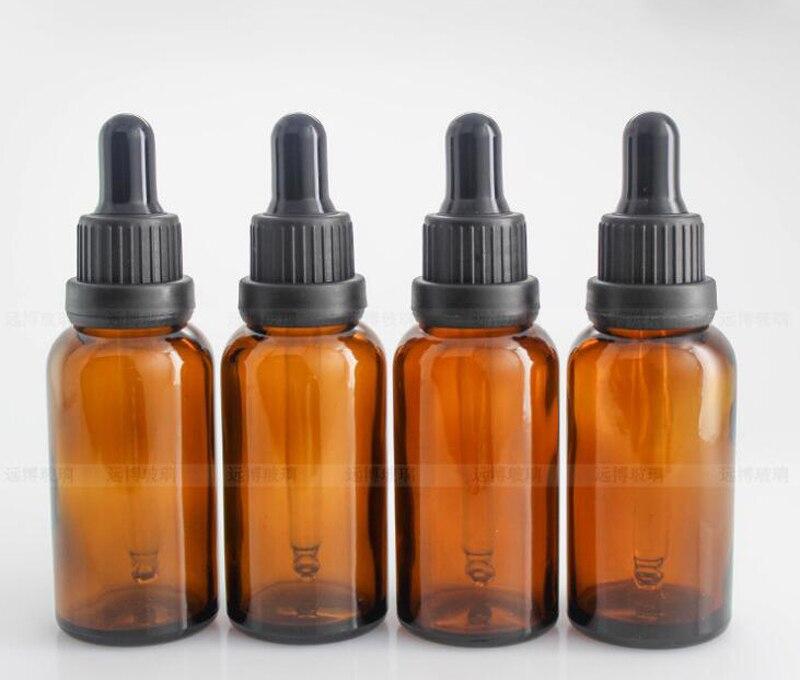 Wholesale 5ml 10ml 15ml 20ml 30ml 50ml 100ml Amber Glass Dropper Bottles Glass E liquid Bottle Eye Dropper Bottle With Black Lid - 3