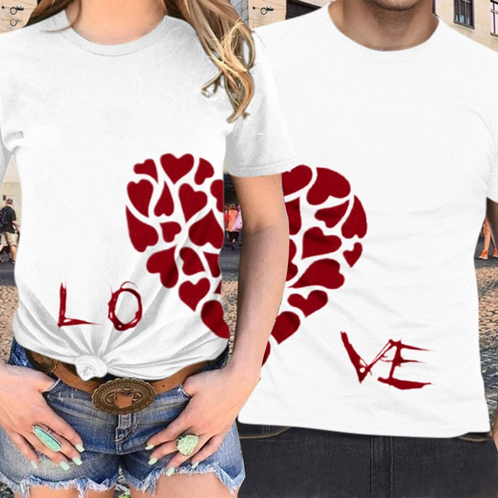Summer Matching Couple t shirt For Lovers Women Men Tee tshirts Love Letter Heart Printed Tops Short Sleeve T-Shirt Plus Size