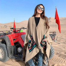 Winter pure with pockets cashmere-like warm-keeping embroidery shawl cloak cashmere scarf for women tassel travel ladies scarves