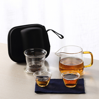 Portable Travel Tea Set Car 300ml Glass Jug Carrying Bag Outdoor Two Cups Quick Flowing Cup Small Tea Cup
