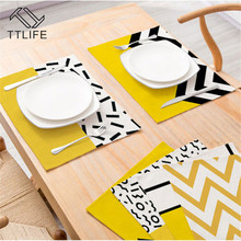 TTLIFE Yellow Geometric Striped Kitchen Placemat Polyester Dining Table Mat Cup Coaster Restaurant Decoration Tableware Napkins