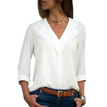 White Blouse Long Sleeve Chiffon Double V-neck Women Tops and Blouses Office Shirt Lady OL Blusas Camisa D30