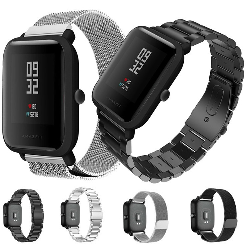 20MM Stainless Metal Strap For Xiaomi Huami Amazfit Youth Bip Smart Watch Band Replaceable Bracelet For Amazfit GTS GTR 42MM
