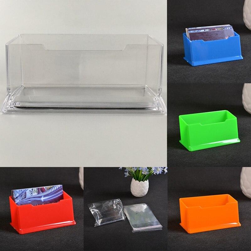 1pcs New Colorful Desk Shelf Box Storage Acrylic Plastic Transparent Desktop Business Card Holder