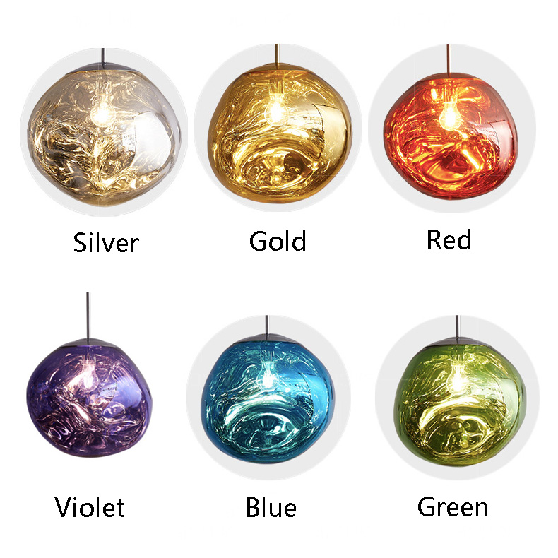 Nordic LED Glass Chandelier Dixon Lava Ball Pendant Lamps Hanging Lamps Bedroom Kitchen Chandelier Modern Personality Light Melt
