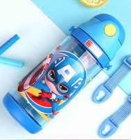 600 мл Дисней Дети чашки дети Марвел ремень бутылочки для кормления Капитан Америка Микки Маус портативный мальчиков девочек Студенческая ч...