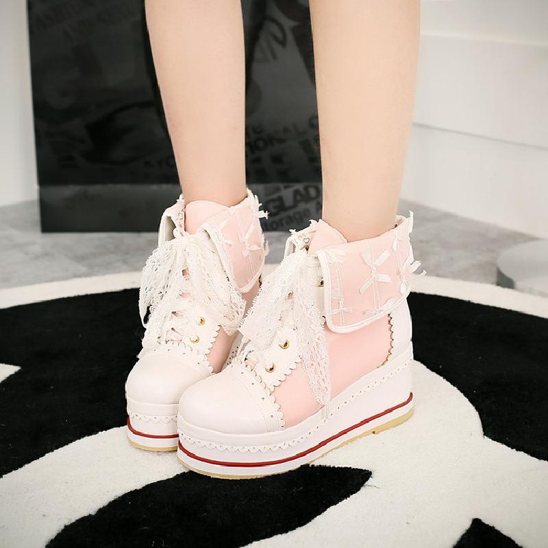 Sweet Lolita Shoes Vintage Round Head Thic Bottom Women Shoes Cute Bowknot Cross Bandage Kawaii Shoes Loli Cosplay Kawaii Girl