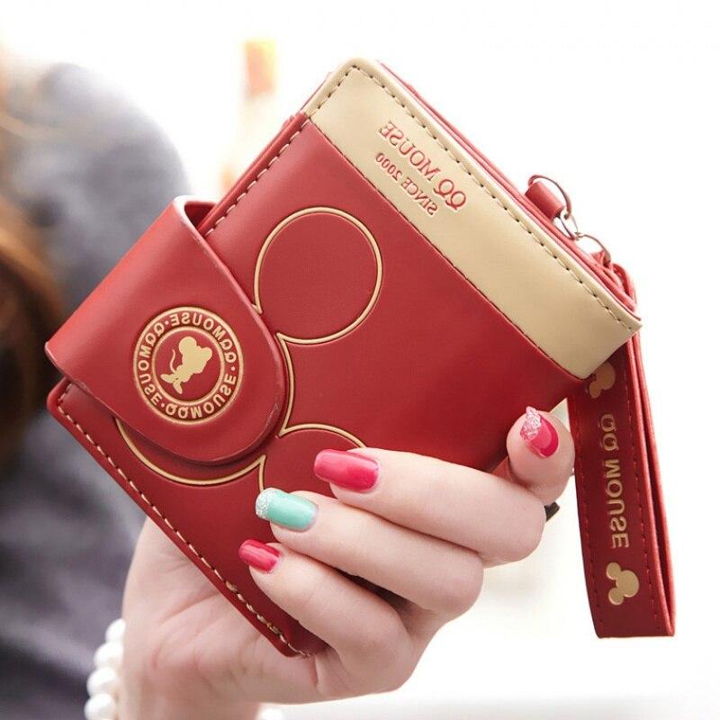 Women's Wallet Cute Wallet Portfel Short Wallet Portefeuille Femme Card Holder Zipper Mickey Mouse Wallet Women Cartera Mujer