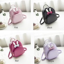Mini Small Backpacks For Teenage Girls Bunny Cute Backpack Women Leather Polka Dot Bow Back Bag Pink Mochila Feminina FI цена 2017