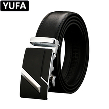 YUFA Leather Belt Men Smooth Buckle Boys  Gray Black Silver Gold Cow Genuine High Quality Luxury Designer Alloy Belts