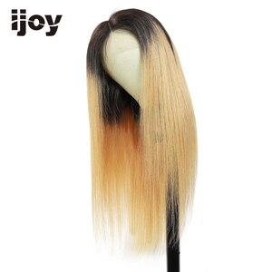 Image 2 - 4x13 frente do laço perucas de cabelo humano ombre peruca de renda reta mel loira peruca de cabelo brasileiro para as mulheres pré arrancadas peruca não remy ijoy