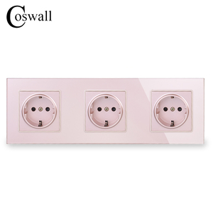 Image 3 - COSWALL Wall Crystal Glass Panel 3 Gang Power Socket Plug Grounded 16A EU Standard Electrical Triple Outlet White Black Grey