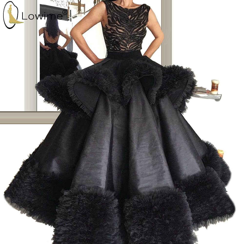 Formal Black Evening Dresses A Line Backless Beaded Floor Length Robe De Soiree Prom Party Gowns