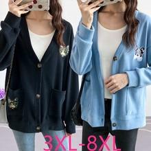 2019 autumn winter plus size coat for women knit long sleeve casual loose short sweater cardigan blue black 4XL 5XL 6XL 7XL 8XL