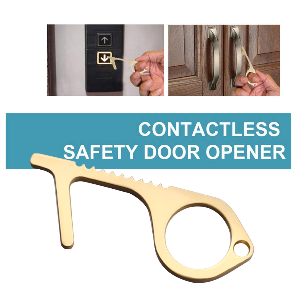Hygiene Hand Brass Keychain Tool Handheld Non-Contact Door Opener /& Closer Stylus Keep Hands Clean