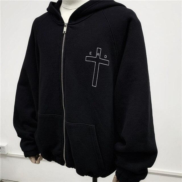 kanye west Cardigan  Retro Letter Printing Zipper Hoodie Sweatshirts  1