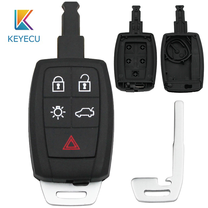 KEYECU Remote Car <font><b>Key</b></font> Shell Case Fob 5 Button for <font><b>Volvo</b></font> C30 C70 <font><b>S40</b></font> V50 2008 2009 2010 2011 FCC: KR55WK49259 With Insert Blade image