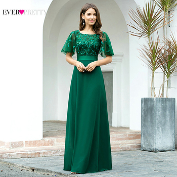 Green Elegant Evening Dresses Plus Size Ever Pretty A Line O Neck Flare Sleeve Lace Sequined Formal Party Dress Robe De Soiree - discount item  15% OFF Special Occasion Dresses