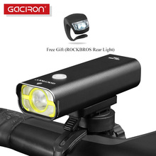 GACIRON Bicycle Front Light 800Lumen USB Rechargeable Waterproof Cycling Flashlight 5 modes High Temperature Protection LED Lamp waterproof 800 lumen xml 2 led 4 modes usb bicycle head light cycling front lamp with temperature control for riding camping