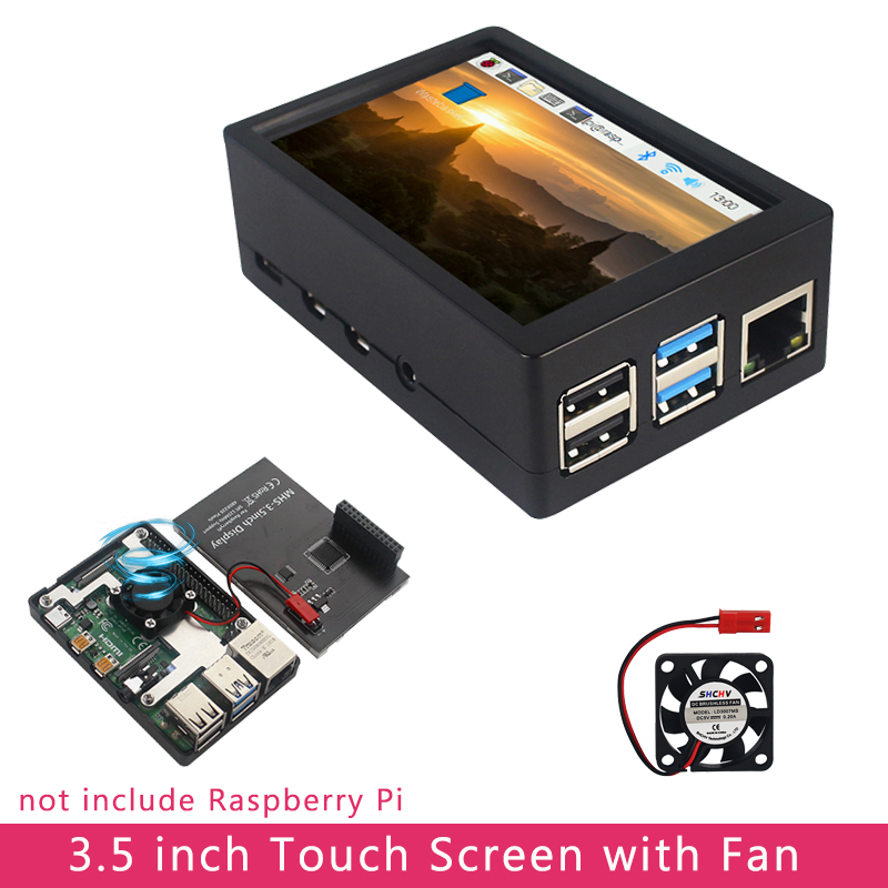 """3.5"""" TFT LCD Display Touch Screen w// Case Fan For Raspberry Pi 4 RetroPie Game"""