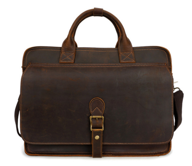 Crazy Horse Cowhide Bag Men High Quality Multifunction Briefcase Genuine Leather Zipper & Hasp College Bag Bolso Hombre DF105