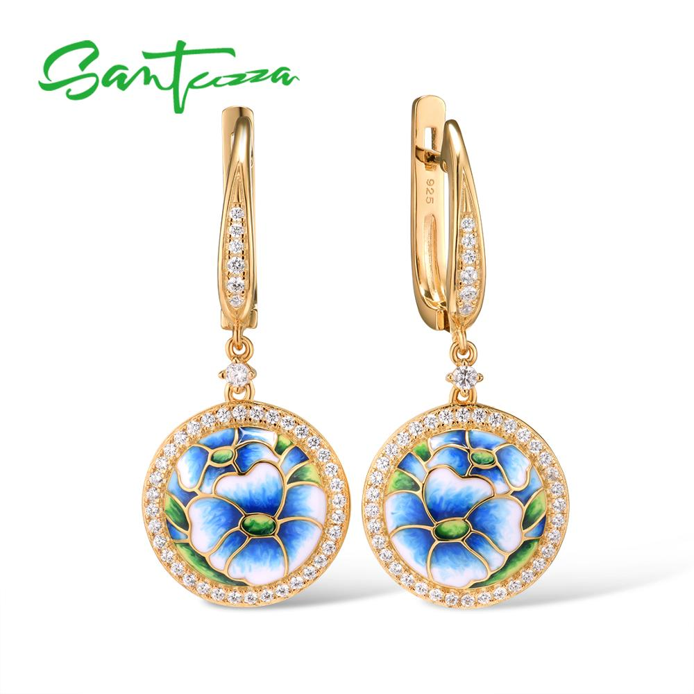 SANTUZZA Silver Drop Earrings For Women 925 Sterling Silver Gold Color Delicate Blue Orchid Flower Fine Jewelry Handmade Enamel